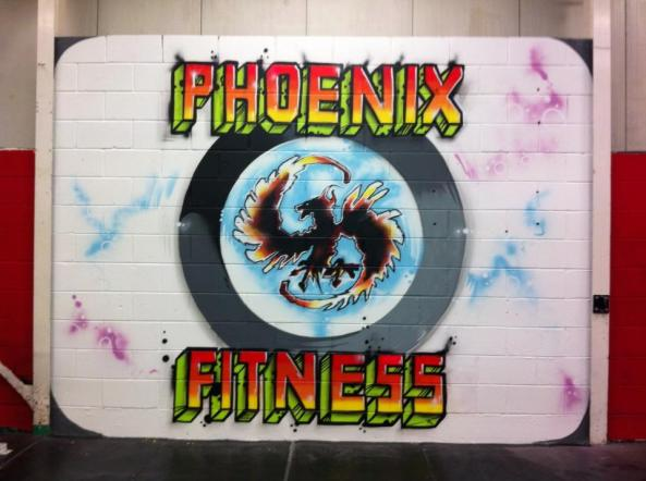 phoenix fitness liverpool zap graffiti mural sign logo wall
