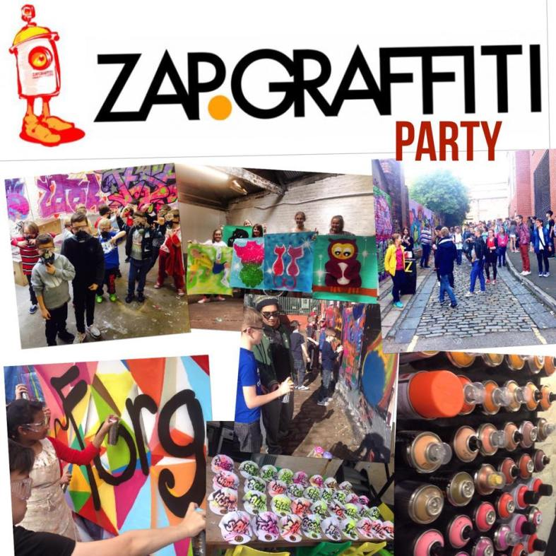 GRAFFITI PARTY LIVERPOOL UNQIE CHILDREN KIDS STAG HEN DOH PARTY ZAP GRAFFITI STREET ART