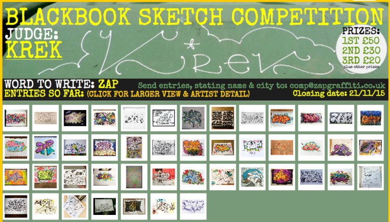 zap graffiti arts blackbook sketch compeition krek